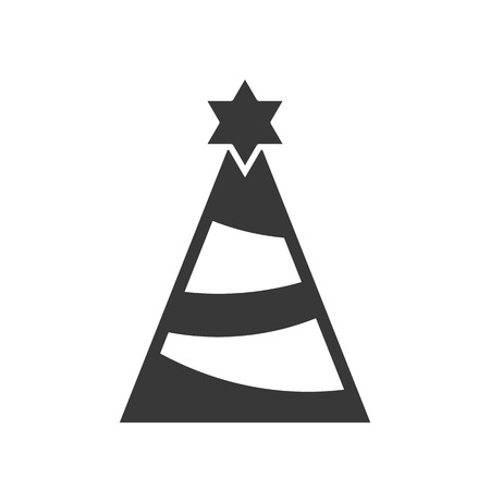 party hat or Christmas tree and star, Merry Christmas filled icon set Illustration