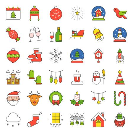 Merry Christmas icon set, outline editable stroke Stock Illustratie