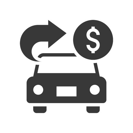 car with arrow and coin, car for cash, bank and financial related icon, glyph design