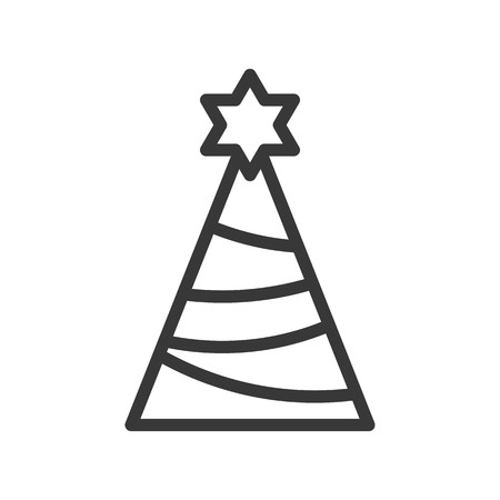 party hat or pine tree with star of david, Merry Christmas icon set, outline design editable stroke Illustration