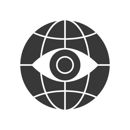 open eye on globe icon, vector illustration