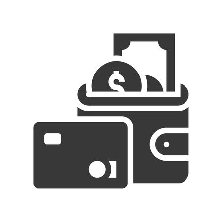credit card, wallet and cash, bank and financial related icon, glyph design Illustration