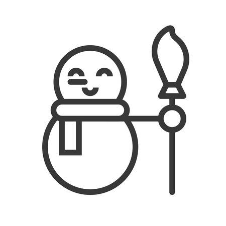 cute snowman, Merry Christmas icon set, outline design editable stroke