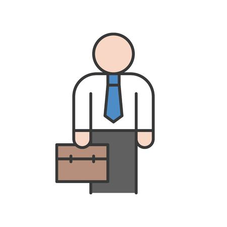 businessman or investor carry briefcase, business icon, editable stroke outline