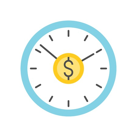 clock and dollar sign, time is money concept icon