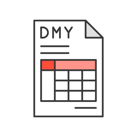 date month year and table in document, report or data icon, editable stroke outline