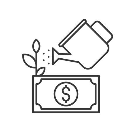Wasserkanne, die Dollarschein oder Banknotenbaum wässert, Konzept der Investitionssymbole, bearbeitbare Strichkontur