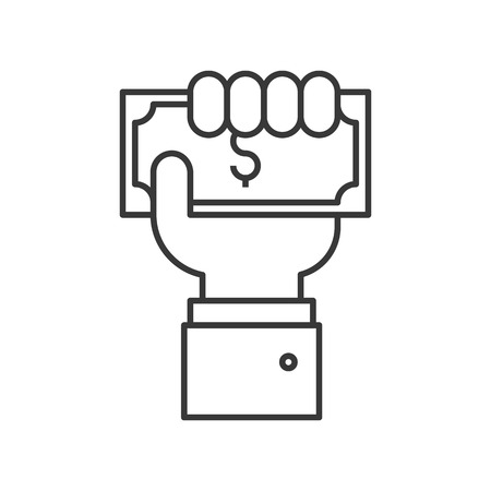 business hand holding dollar bill, payment or crowd funding icon, editable stroke outline Vectores