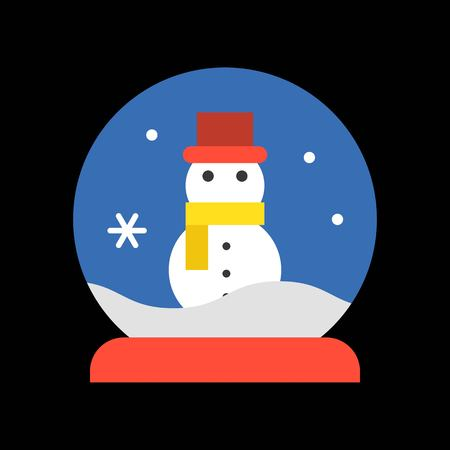 Snowman in snow globe, Merry Christmas filled icon set