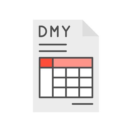 date month year and table in document, report or data icon