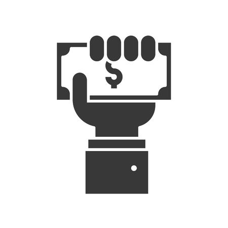 business hand holding dollar bill, payment or crowd funding icon