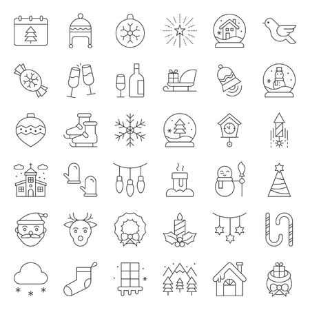 Merry Christmas icon set, outline editable stroke Çizim