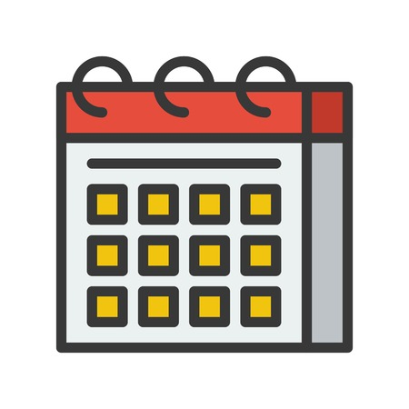 calendar icon, flat with outline design vector pixel perfect  イラスト・ベクター素材