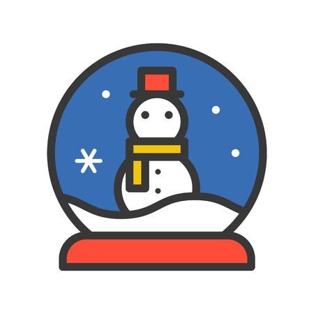 Snow globe and snowman, Merry Christmas related icon set, filled outline design editable stroke