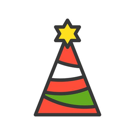 party hat, Merry Christmas related icon set, filled outline design editable stroke