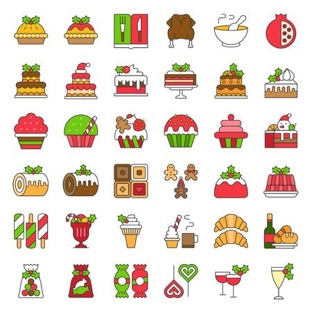 christmas food related icon set such as bakery; wine; biscuit; layered cake decorated with holly Illustration