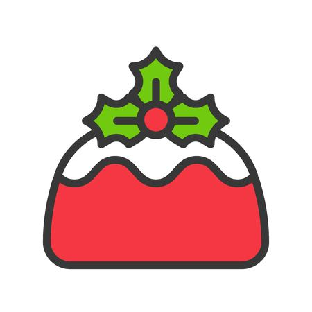 pudding christmas bakery and sweets icon.  editable outline
