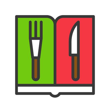 menu icon with fork and knife in christmas theme. editable outline Illustration