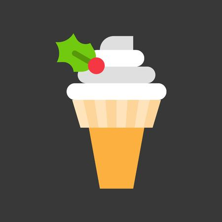 soft serve ice cream cone decorated with holly for christmas food