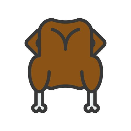 whole body or roast chicken or turkey dinner christmas food theme icon  editable outline Foto de archivo - 113021928