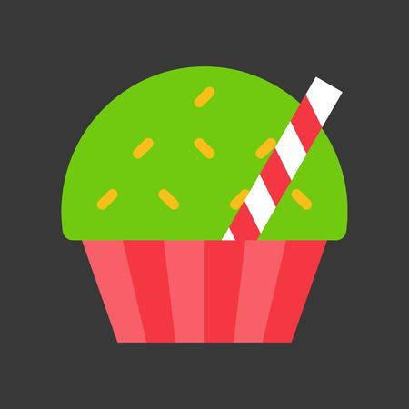 christmas cup cake icon decoration with candy Stock Illustratie