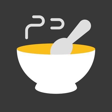 hot soup with spoon and bowl icon