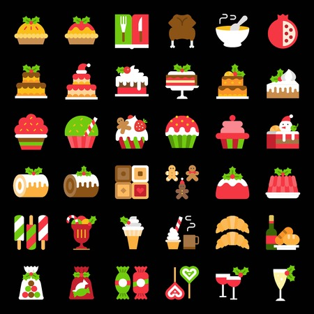 christmas food related icon set such as bakery; wine; biscuit; layered cake decorated with holly Stock Illustratie