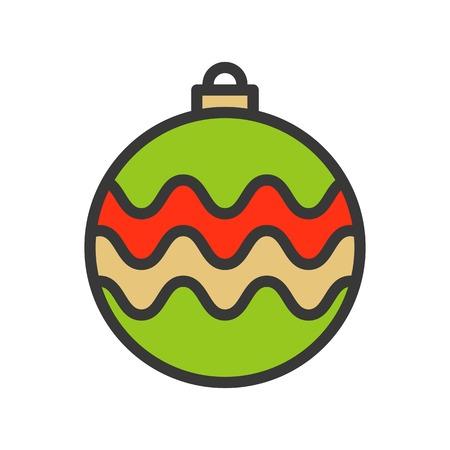 christmas ball, bauble, suitable for use as material, editable outline icon Vektoros illusztráció