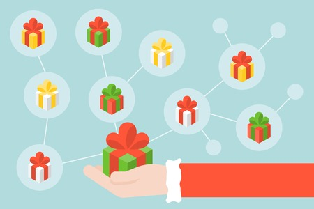 Santa claus hand and gift box icon with social network diagram, vector illustration Illustration