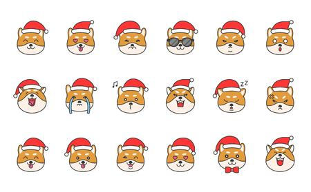 shiba inu emoticon set, filled outline design vector illustration Illustration