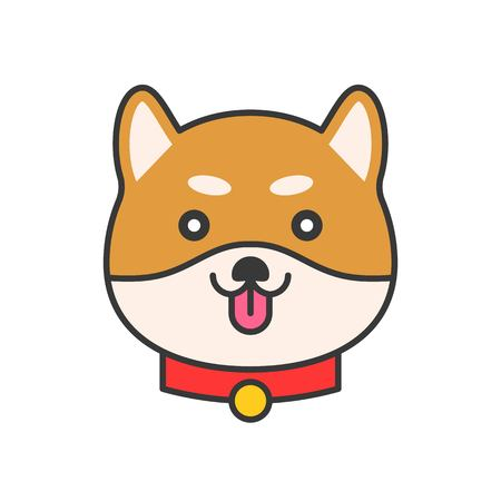 shiba inu emoticon, filled outline design vector illustration