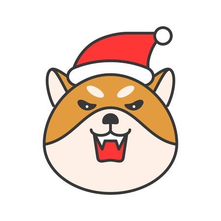 shiba inu emoticon, filled outline design vector illustration