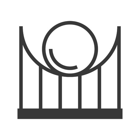 Roller coaster vector icon, amusement park related solid design