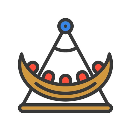 Swing boat vector icon, filled outline design editable stroke