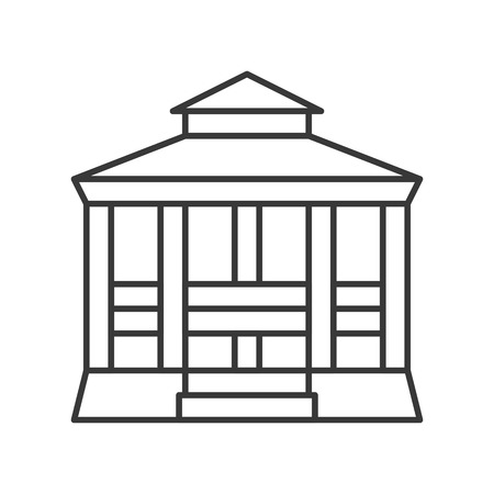 Pavilion vector icon, amusement park related line design
