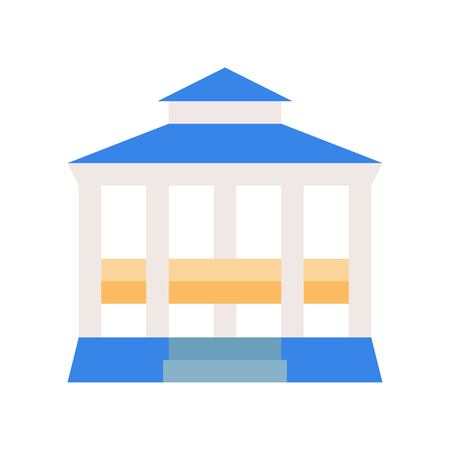 Pavilion vector icon, amusement park related flat design