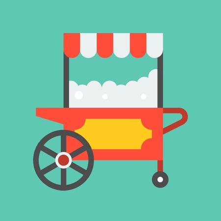 Popcorn cart vector icon, amusement park related flat design
