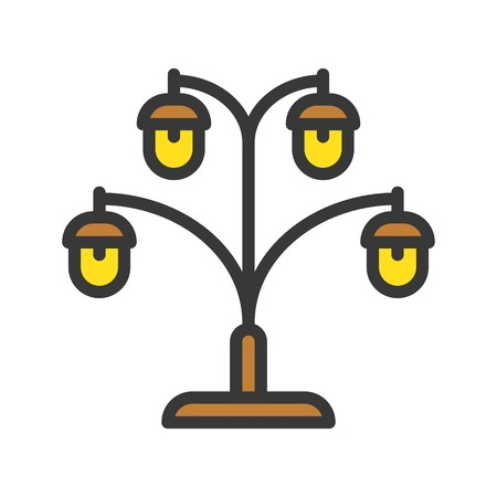 Lantern or lamp vector icon, filled design editable stroke