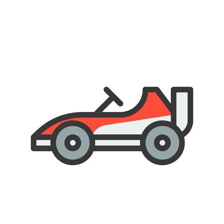 Go kart or Racing car vector icon, filled outline design editable stroke