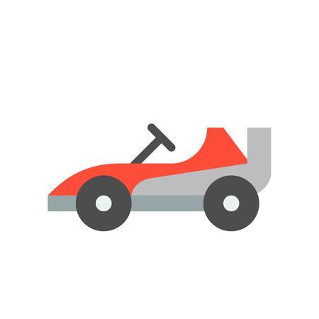 Go kart or Racing car vector icon, amusement park related flat design