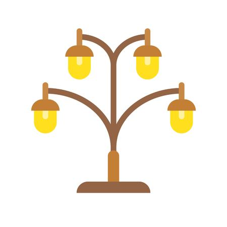 Lantern or lamp vector icon, flat design