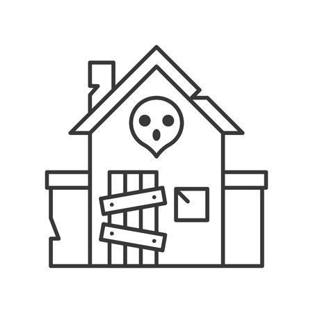 Icône de vecteur de maison hantée, conception de ligne liée au parc d'attractions Vecteurs