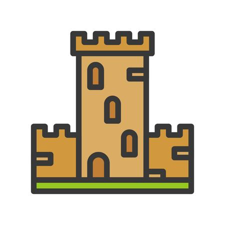 Castle vector icon, filled outline design editable stroke
