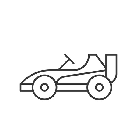 Go kart or Racing car vector icon, amusement park related line design