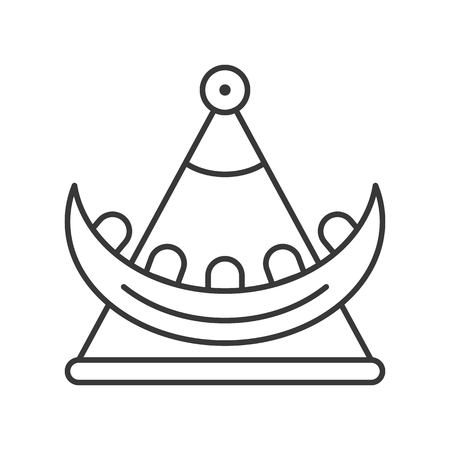 Swing boat vector icon, amusement park related line design