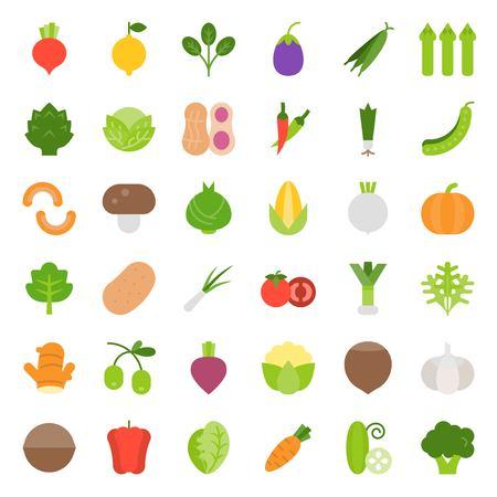 Vegetable icon set, flat style vector illustration.