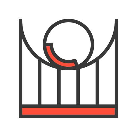 Roller coaster vector icon, filled outline design editable stroke