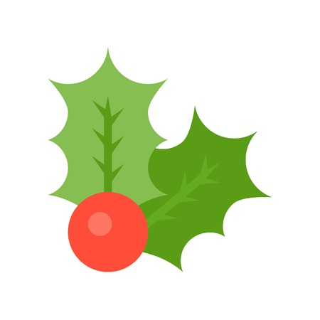 Holly vector, Christmas related flat design icon