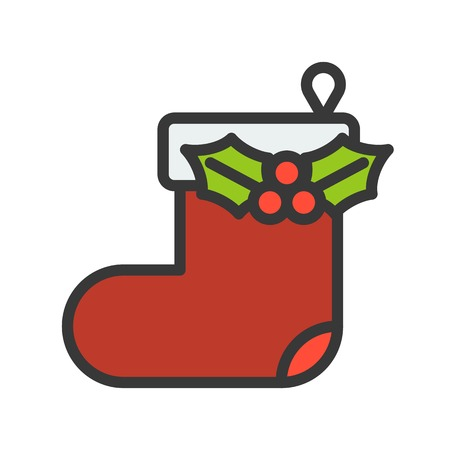 Hanging christmas sock vector, Christmas related filled design icon, editable outline