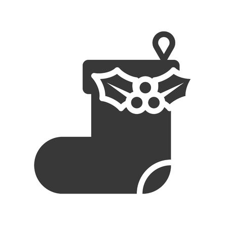 Hanging christmas sock vector, Christmas related solid design icon